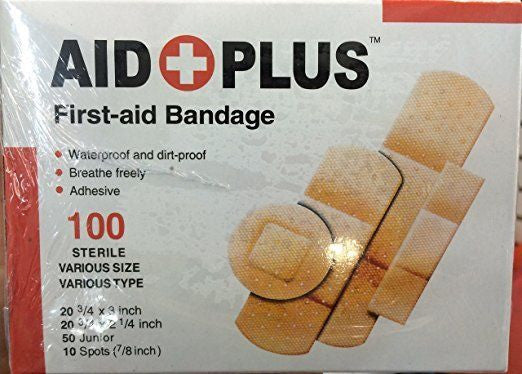 AID Plus Adhesive Bandages, Variety Size Pack, 100 Count