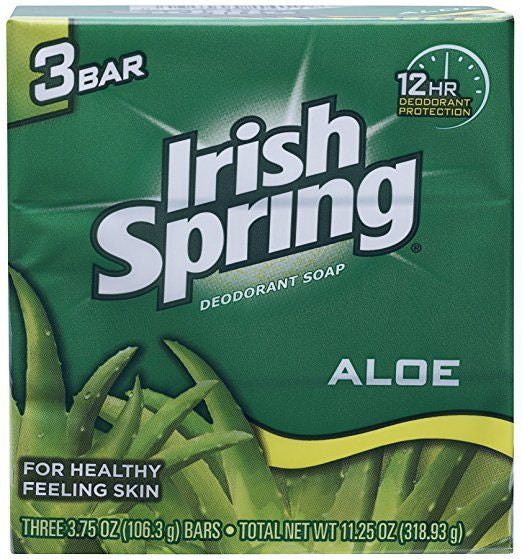 Aloe Deodorant Soap By Irish Spring for Unisex, 3 Count, New
