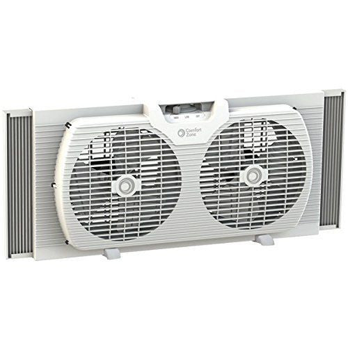 "Comfort Zone 9"" Portable Twin Window Fan - CZ319WT"