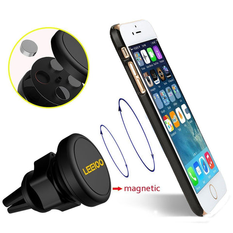 Air Vent Car Mount, Magnetic Cell Phone Holder with 360 Degree Rotation - Black