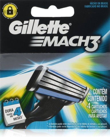 Gíllette Mach 3 Razor Refill Cartridges, 4 Count (1 pack, 4 Blades to a pack)