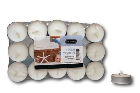 USA Tealight Candles, 30-Pack (Mandarin, Lavender, Fresh Cotton, Unscented)