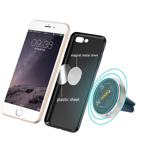 Air Vent Car Mount, Magnetic Cell Phone Holder w 360 Degree Rotation - Rose Gold