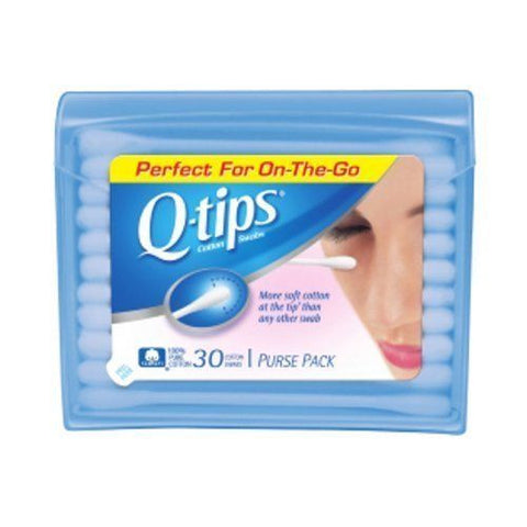 Q-Tips Cotton Swabs Purse Travel Size Pack, 30 Count (Pack of 3)