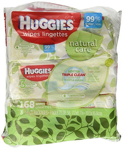Huggies Natural Care Baby Wipes, Refill, Unscented, Hypoallergenic, Aloe -168ct