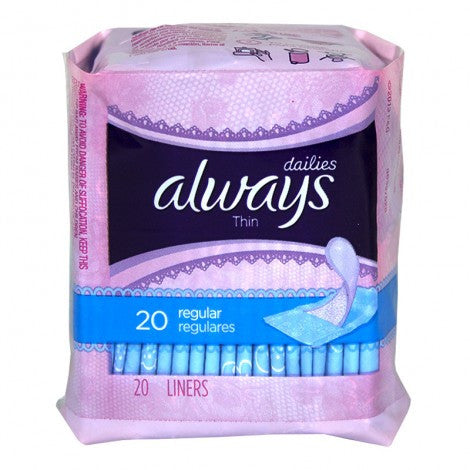 Always Thin Daily Liners, 20 Count - MyTravelPaQ