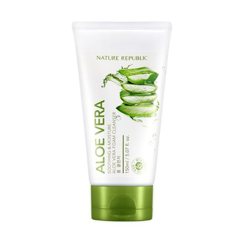 Nature Republic New Soothing & Moisture Aloe Vera Foam Cleanser - MyTravelPaQ  - 1