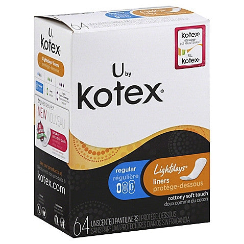 U by Kotex® Lightdays® Pantiliners, Regular 64 count - MyTravelPaQ