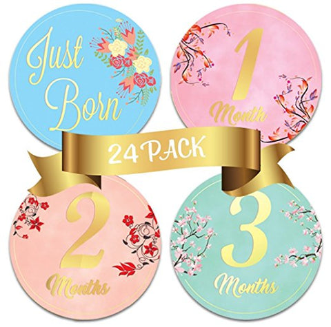 Baby Monthly Stickers-24 Floral Milestone Stickers with Shiny Metallic Gold Letters for Newborns