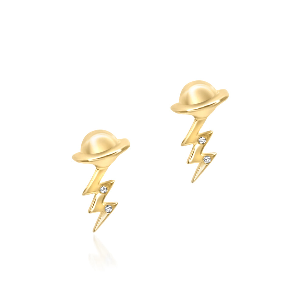 Planet Meets Lightning Bolt Earring