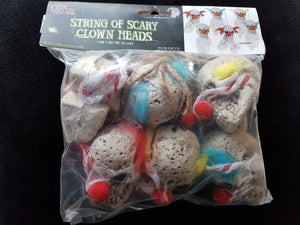 String Of Scary Clown Heads 64""