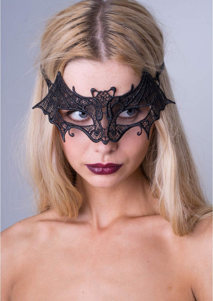 Black Lace Bat Masquerade Mask
