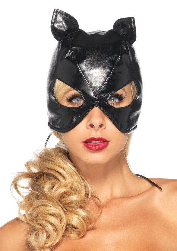 Black Cat Mask with Lace up back