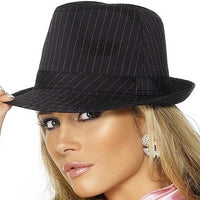 Ladies Black with Pink Pinstriped Fedora Gangster Hat