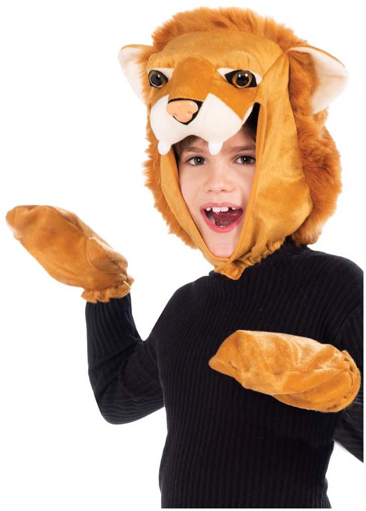 Children's Lion Hood And Mitt Set