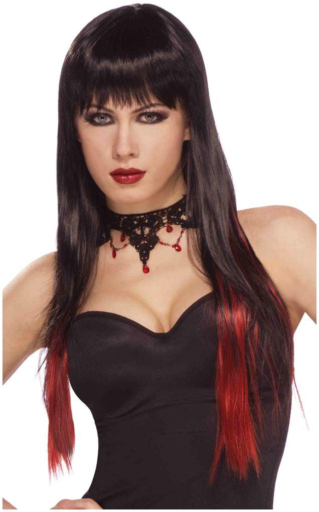 Black and Red Slash Wig