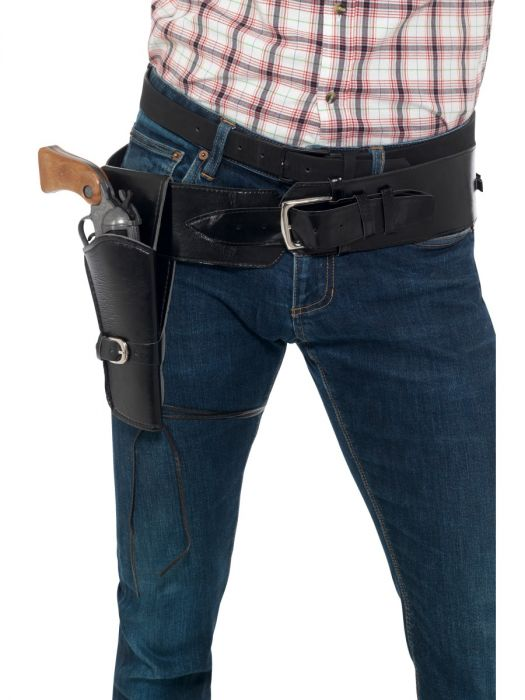 Adult Black Faux Leather Single Holster With Belt
