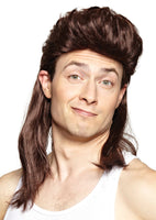 Nightclub Brown Mullet Wig