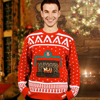 Morphsuit Crackle Fireplace Christmas Sweater