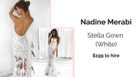 Designer Dresses Nadine Merabi Sequin Gown White Formal Dress Hire