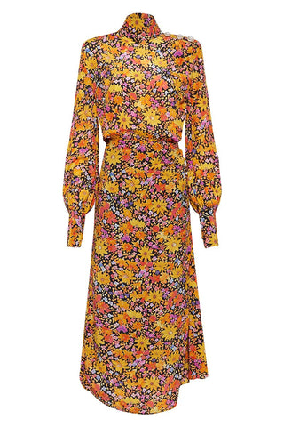 Long Sleeve Floral Silk dress to hire