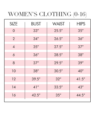 Sizing guide by brand dress for a night
