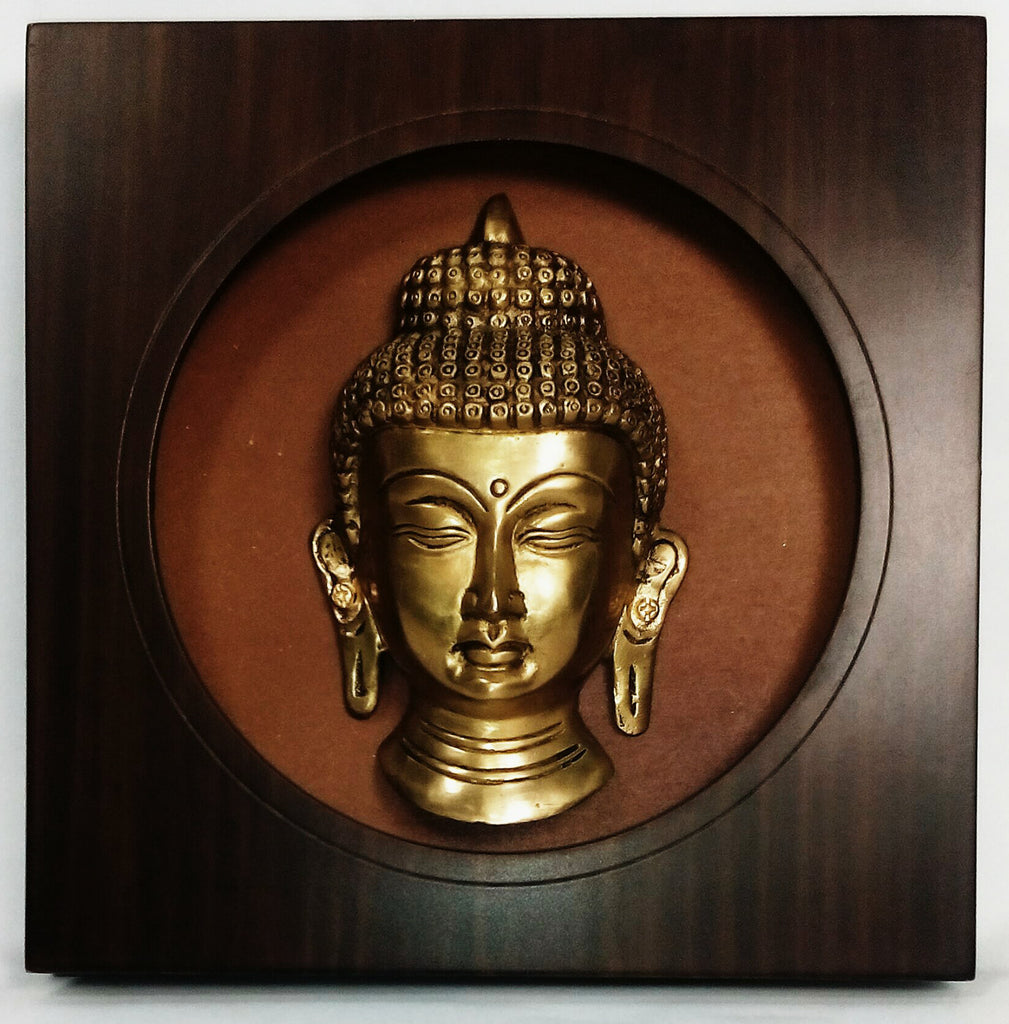 buddha with circular wooden frame