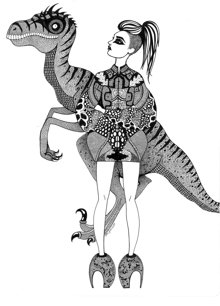 Kunst plakat // Limited edition art print // 'Raptor Lady'