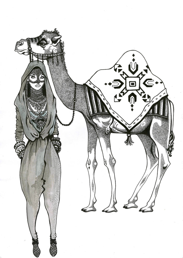 Kunst plakat // Limited edition art print // 'Camel Lady'