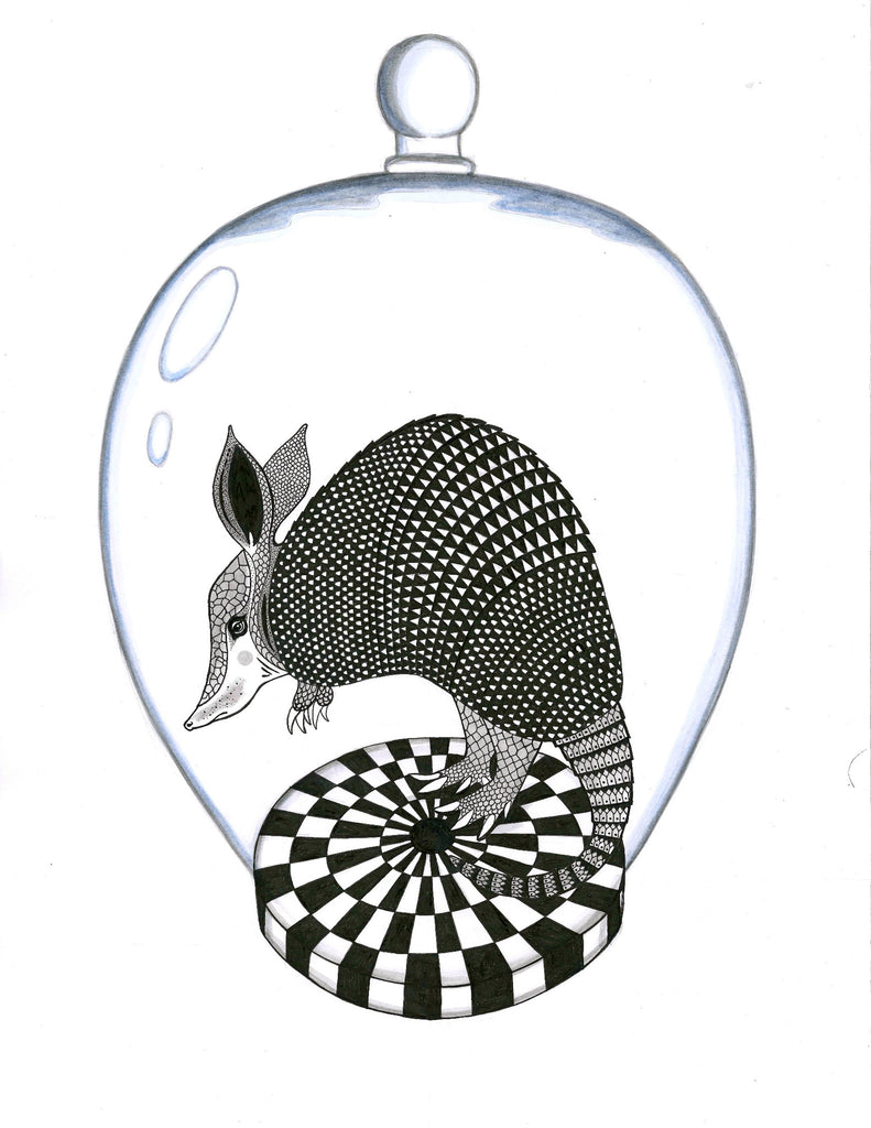 Kunst plakat // Art print // 'Mr Armadillo'
