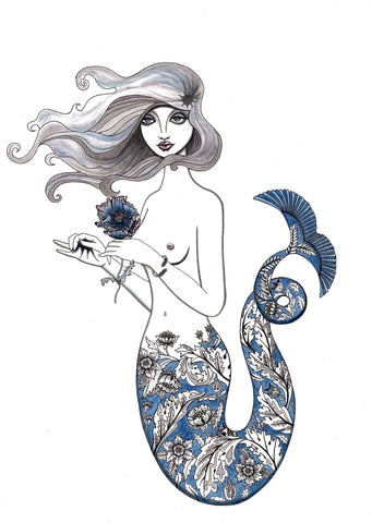 Kunst plakat // Limited edition art print // 'Blue Mermaid'