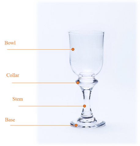 Image of clear short stem wine glass