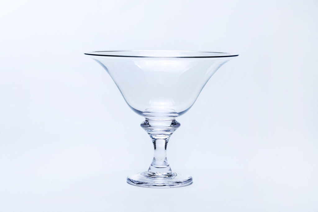 Handmade Footed glass bowl clear