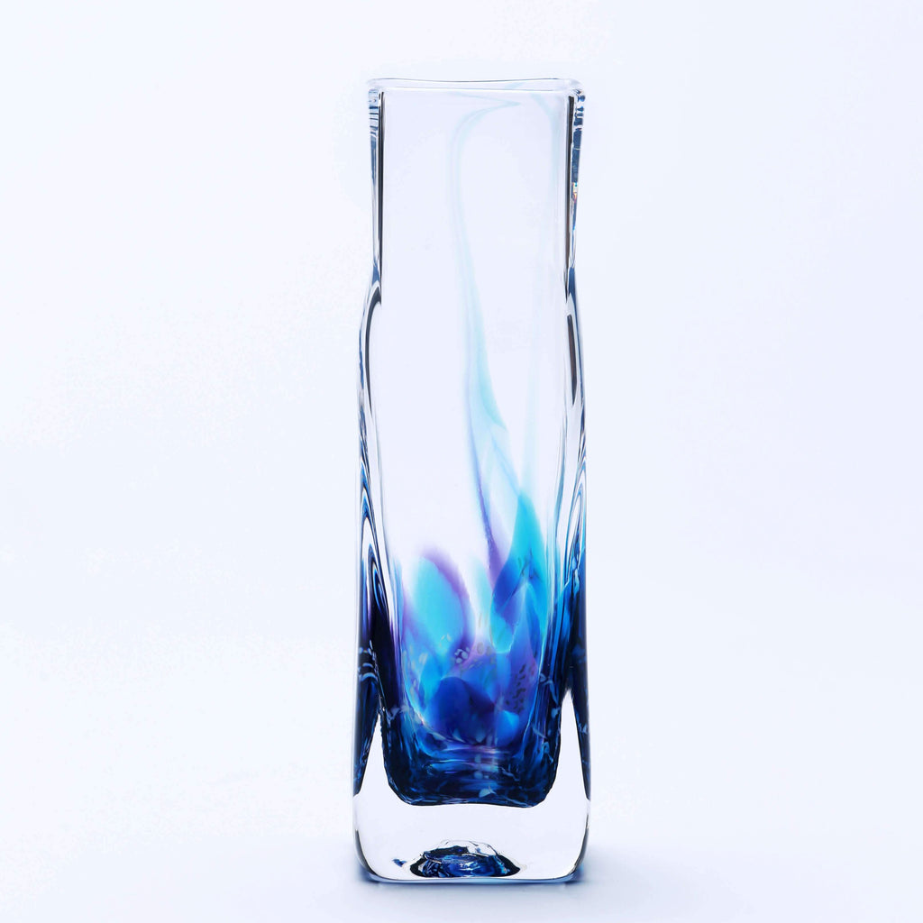 Picture of a blue glass square vase
