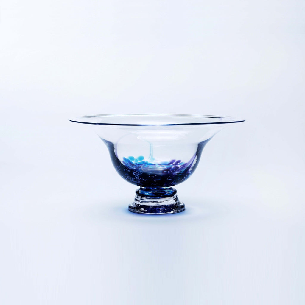 Picture of a large Irish Handmade Glass Footed Bowl blue