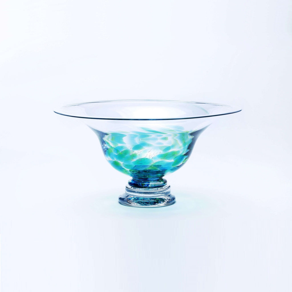 Picture of a large Irish Handmade Glass Footed Bowl green