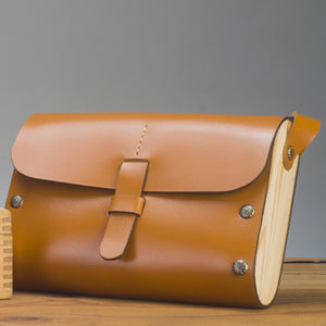 Leather & Wood purse - Tan - Two Horns