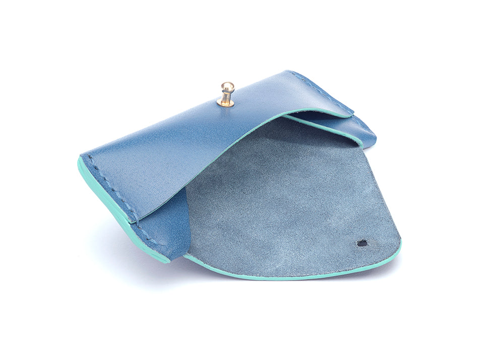 LEATHER SUNGLASS CASE - BLUE - Two Horns