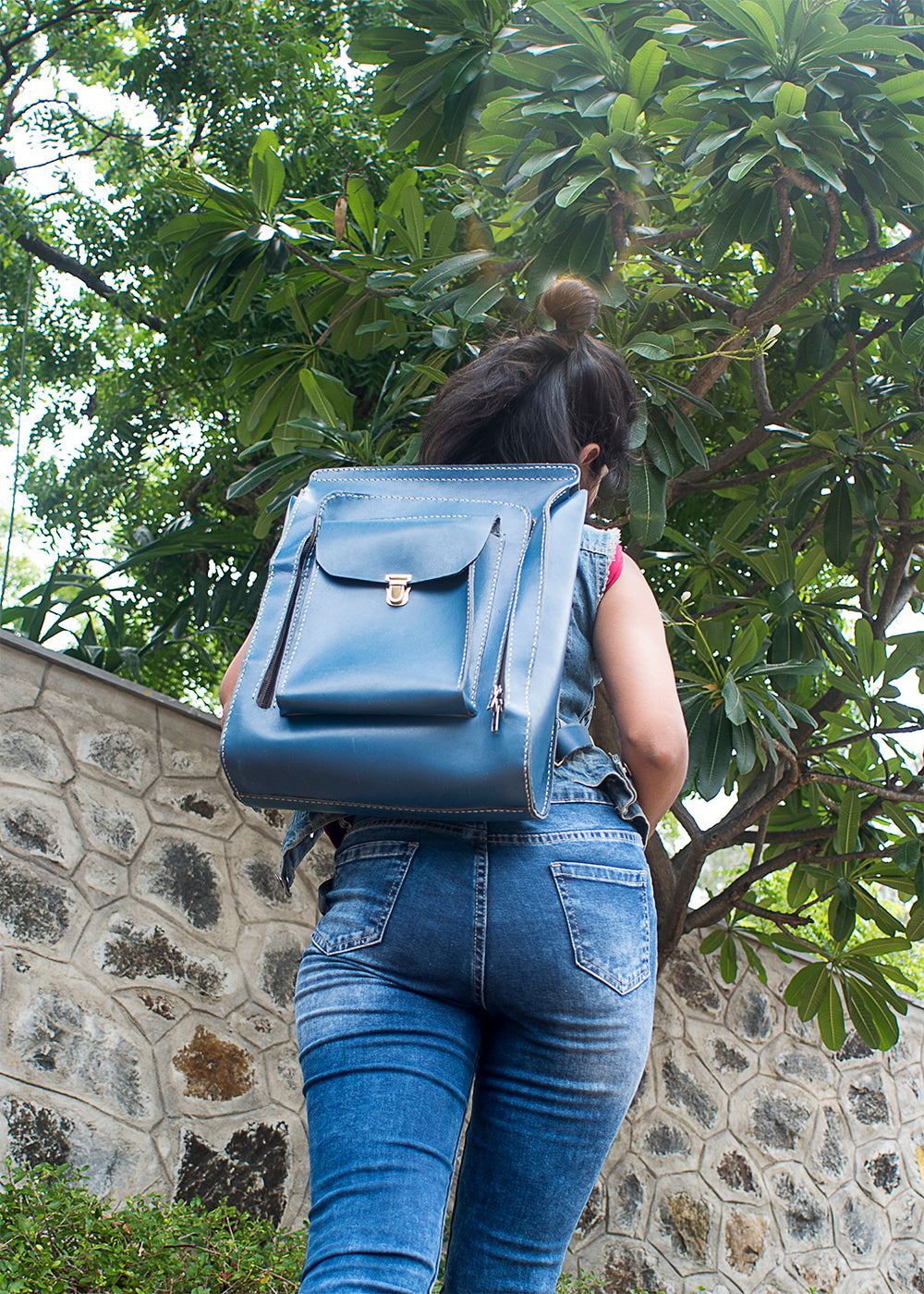 Full Zipper Backpack - Blue - Two Horns