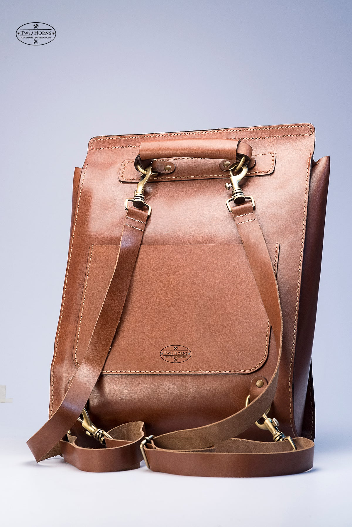 Full Zipper Backpack - Brown - Two Horns