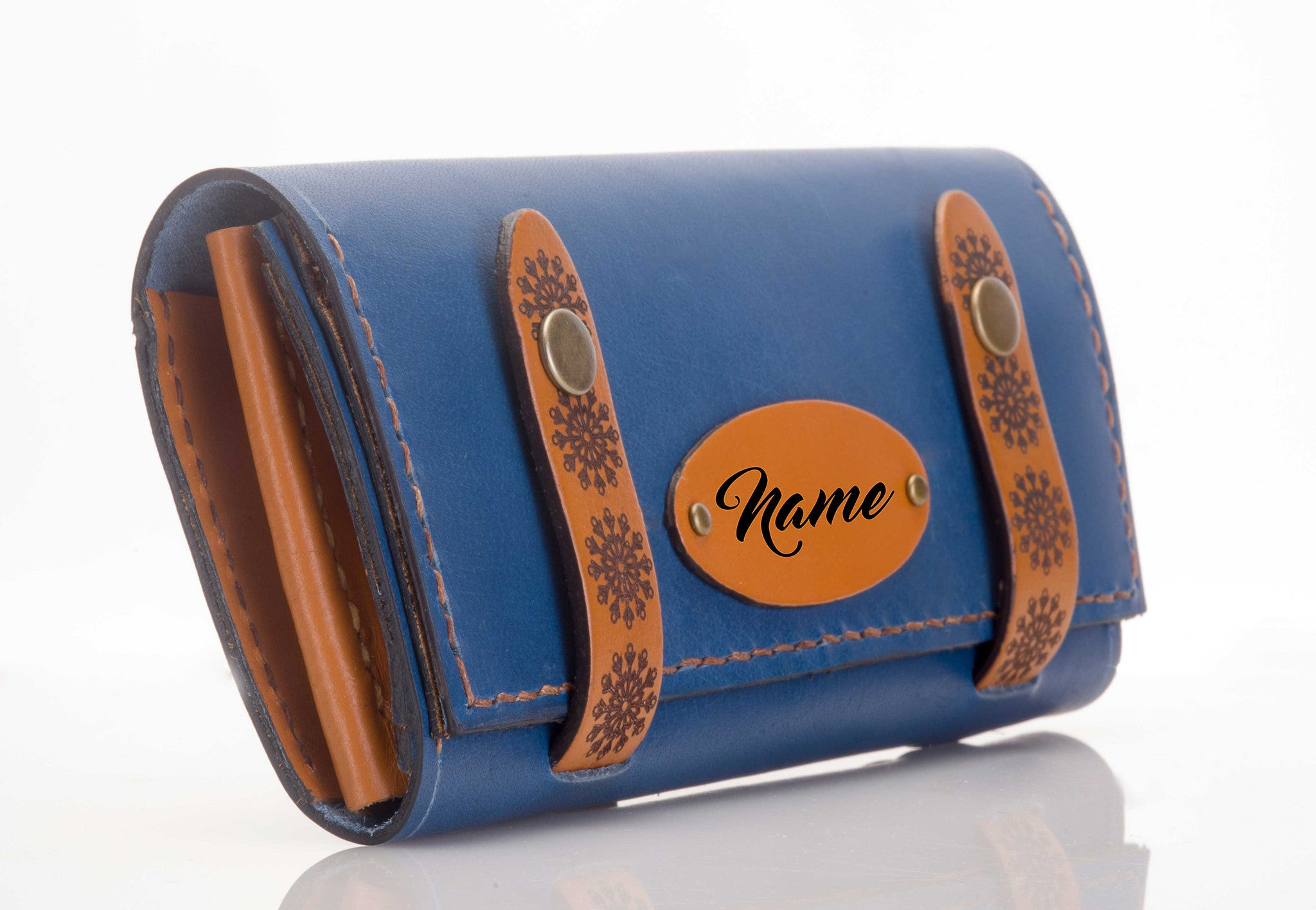 Personalised Leather Clutch - Blue #StrapOn - Two Horns