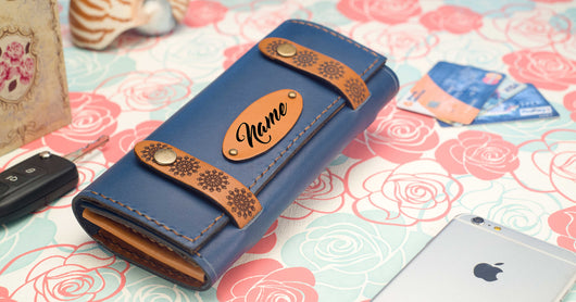 Personalised Leather Clutch - Blue #StrapOn