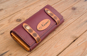 Personalised Leather Clutch - Burgundy #StrapOn - Two Horns