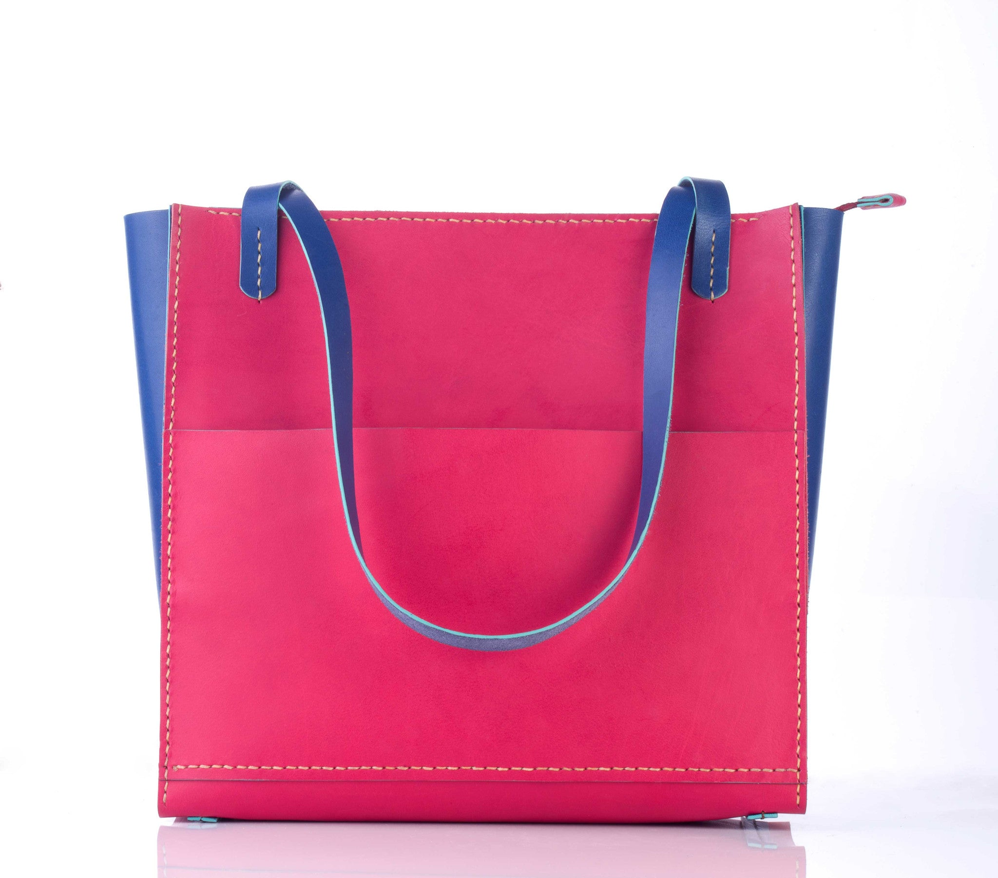 Leather Tote Bag - Pink #EasyCarry - Two Horns