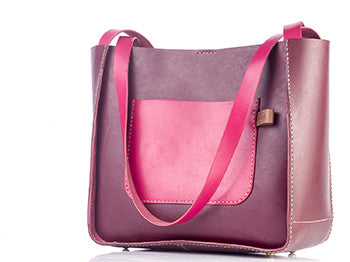 Tote Bag - Burgundy & Pink - Two Horns