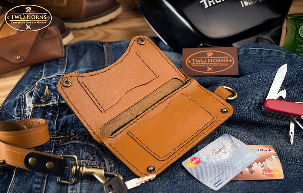 Biker Wallet - Tan - Two Horns