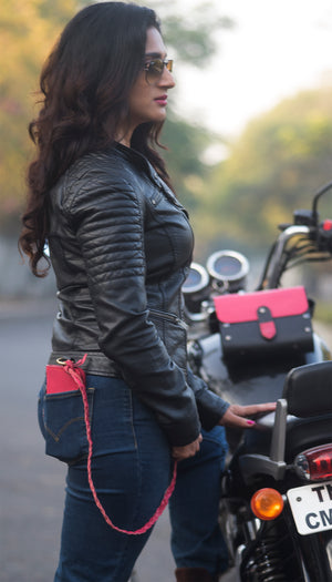 Biker Trucker purse Exclusive for Women - Pink - Two Horns
