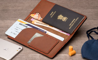Long Passport Leather Wallet - Brown