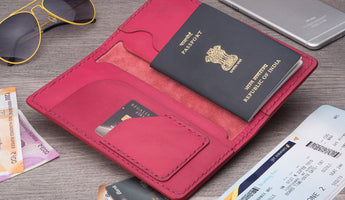 Long Passport Leather Wallet - Pink
