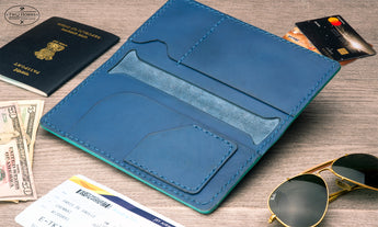 Long Passport Leather Wallet - Blue